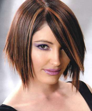 Short Dark Brown Hair with Highlights